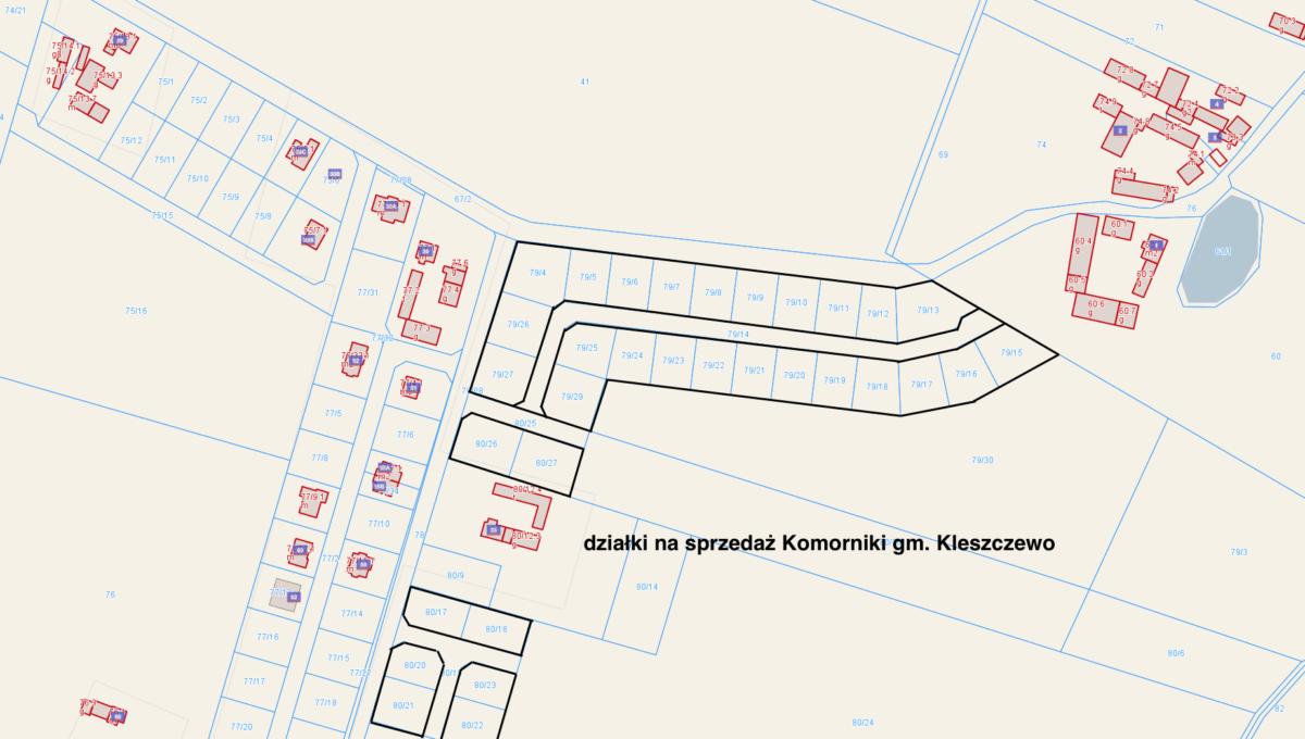 zrzut e-mapa z wyróżnieniem działek 30.04.2020