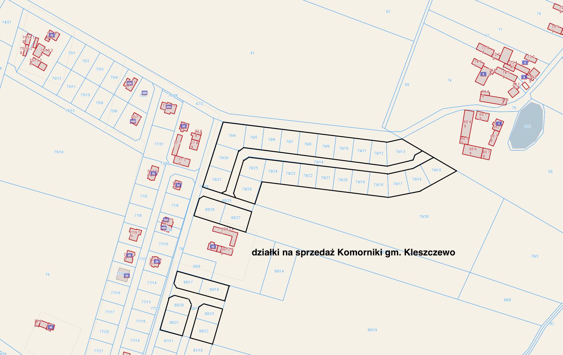 34 działki budowlane w Komornikach gmina Kleszczewo – idealne dla Inwestora lub Dewelopera
