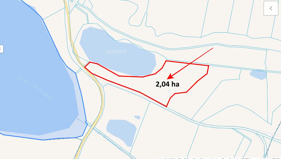 mapka geoportal wytyczona z powierzchnią